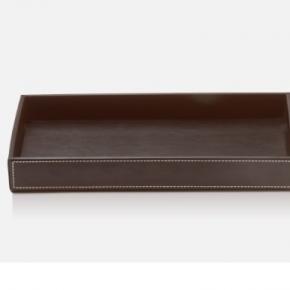 Аксессуары и Мебель для дома. Лоток кожаный коричневый настольный прямоугольный