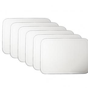 Посуда Столовые приборы Декор стола Deluxe. Подставки маты кожаные закруглённые углы настольные для посуды и приборов Vanny GioBagnara белый