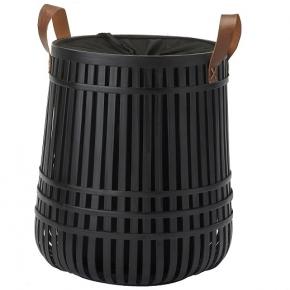 Корзины для белья. Aquanova Kyoto чёрная бамбуковая корзина для белья