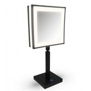Зеркала косметические с подсветкой увеличением настенные настольные Зеркала с присосками. ALISEO зеркало LED CUBIK Чёрное квадратное с подсветкой и увеличением х3 настольное