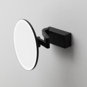 . Vision чёрное косметическое зеркало настенное с подсветкой и увеличением х5 круглое
