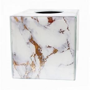 . Салфетница Kassatex Marble Swirl стеклянная декор золото куб