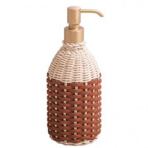 . Giobagnara Rouen кожаный плетёный дозатор настольный большой 500 мл латунь