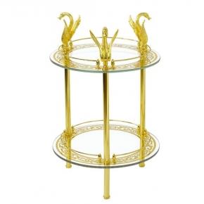 Этажерки для ванной. LUXOR столик круглый двойной стеклянный золотой