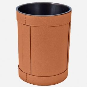 . Ведро кожаное круглое Rotondo waste paper basket by GioBagnara Siena Brown