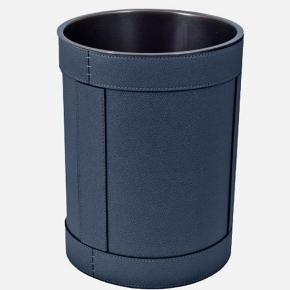 . Ведро кожаное круглое Rotondo waste paper basket by GioBagnara Royal Blue синий