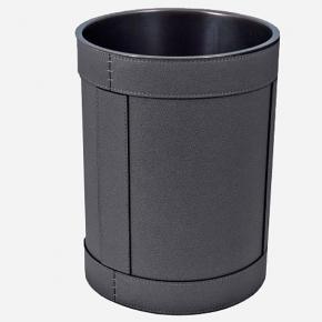 . Ведро кожаное круглое Rotondo waste paper basket by GioBagnara Graphite графит