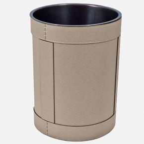 . Ведро кожаное круглое Rotondo waste paper basket by GioBagnara Mud