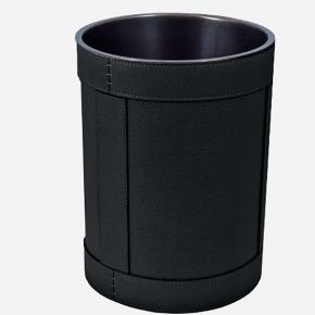 . Ведро кожаное круглое Rotondo waste paper basket by GioBagnara Black чёрное