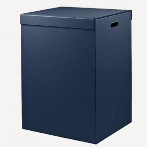 Корзины для белья. Parma кожаная корзина для белья Royal Blue синяя универсальная с крышкой