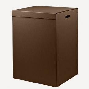 Корзины для белья. Parma кожаная корзина для белья Brown коричневая универсальная с крышкой