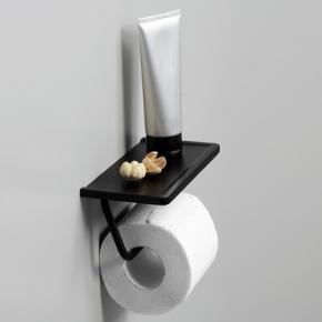 Аксессуары для ванной настенные. Держатель для туалетной бумаги настенный чёрный матовый с полкой
