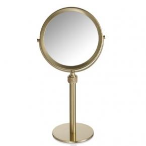 Зеркала косметические с подсветкой увеличением настенные настольные Зеркала с присосками. Настольное косметическое зеркало золотое матовое двухстороннее с увеличением 1х5 ROCKS