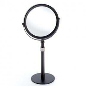 Зеркала косметические с подсветкой увеличением настенные настольные Зеркала с присосками. Настольное косметическое зеркало двухстороннее с увеличением 1х5 Club чёрное хром