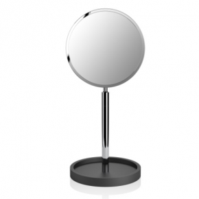 Зеркала косметические с подсветкой увеличением настенные настольные Зеркала с присосками. Настольное косметическое зеркало двухстороннее с увеличением 1х4 Stone чёрное