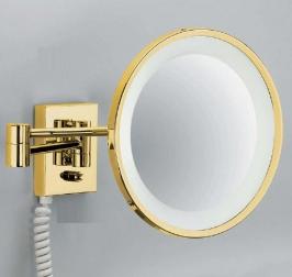 Зеркала косметические с подсветкой увеличением настенные настольные Зеркала с присосками. Decor Walther Косметическое зеркало Золотое с подсветкой и увеличением Gold 40