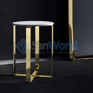 Dolce Табурет золотой с белым круглым сиденьем