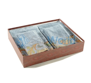 Комплект махровых полотенец (голубой)