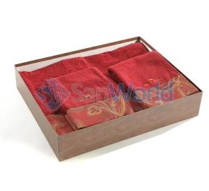 Комплект махровых полотенец (красный)