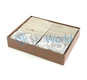 Комплект махровых полотенец (серо-бежевый)