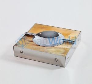 Пепельница с отделкой металлом и рогом (16 х 16 см)