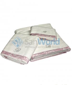 Комплект полотенец для лица (40х60), рук (60х110) и тела (150х100) Macrame Белый с розовой отделкой от Blumarine art.7873-02