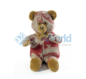 Мишка (мягкая игрушка) в текстиле с красным узором (34 см)