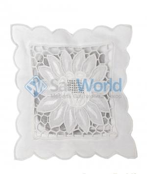 Саше хлопковое белого цвета Белая вышивка 4 с наполнителем Лаванда от Le Blanc