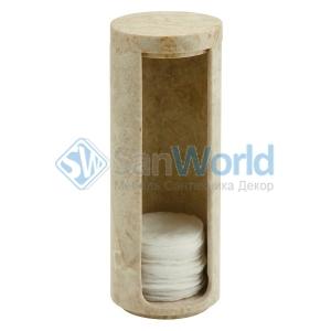 Контейнер мраморный для ватных дисков светло-кремовый Luxor