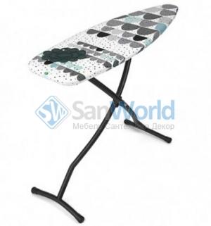 Гладильная доска 135х45см (размер D) с силиконовой жаропрочной подставкой для утюга, цвет каркаса Black чёрный