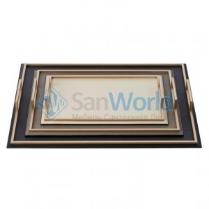 Кожаный поднос с металлическими ручками Defile Gold rectangular trays by GioBagnara