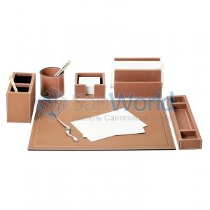 Настольные аксессуары для офиса кожаные Phil office accessories, brown by GioBagnara