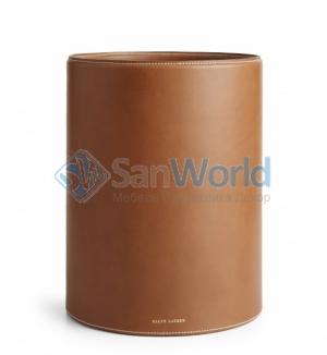 Ralph Lauren Home BRENNAN SADDLE коричневое кожаное ведро для бумаг круглое