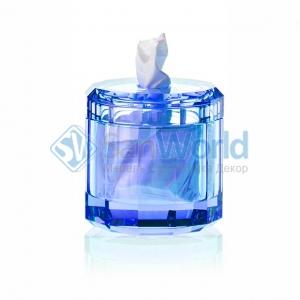 Kristall Saphirre blue Настольные аксессуары для ванной хрустальные синие салфетница Decor Walther