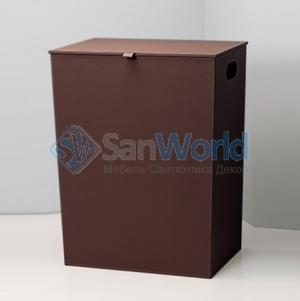 Корзина для белья экокожа коричневая