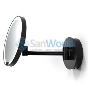 Decor Walther Just Look WR белое, чёрное и хром настенное косметическое зеркало с подсветкой LED и увеличением х5
