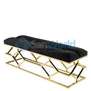 Eichholtz Bench Trellis банкетка мягкая чёрная декор Золото
