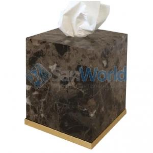 Palace Emperador Gold настольная мраморная салфетница Золото куб