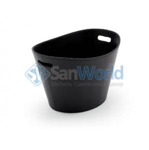Ёмкость для хранения кожаная газетница напольная с ручками Calligaris Basket чёрная овальная
