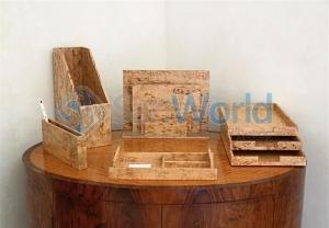 Wood Collection деревянные аксессуары для рабочего стола Сет Карельская берёза