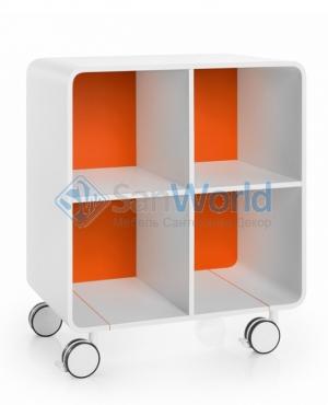 Этажерка для ванной на роликах белая Оранжевая