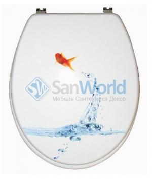 GOLDFISCH белое сиденье для унитаза с микролифтом декор Золотая рыбка