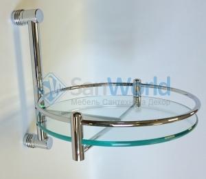 Полка стеклянная для ванной круглая