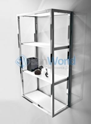 Стеклянная полка для ванной этажерка подвесная 4 полки