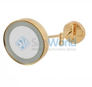 Зеркало косметическое с подсветкой и трёхкратным 1х3 увеличением Золотое круглое