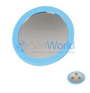 Nelly Nicol зеркало косметическое с увеличением 1х5 настенное с присосками Голубое