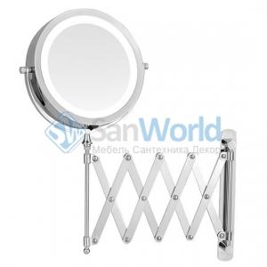 ALICIA Nicol косметическое зеркало с подсветкой LED от батареек и пятикратным увеличением настенное с гармошкой двухстороннее