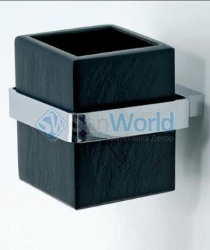 Ardesia Аксессуары для ванной чёрные настенные стакан натуральный чёрный Сланец