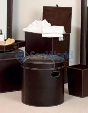 Пуф с мягким сиденьем экокожа коричневый круглый с корзиной для белья
