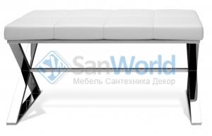 Bench банкетка для ванной хром с мягким кожаным сиденьем